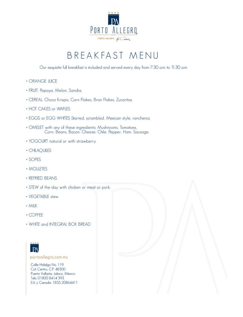 Breakfast Menu Hotel Porto Allegro Puerto Vallarta